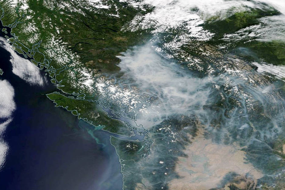 New image of B.C. smoke from space taken today