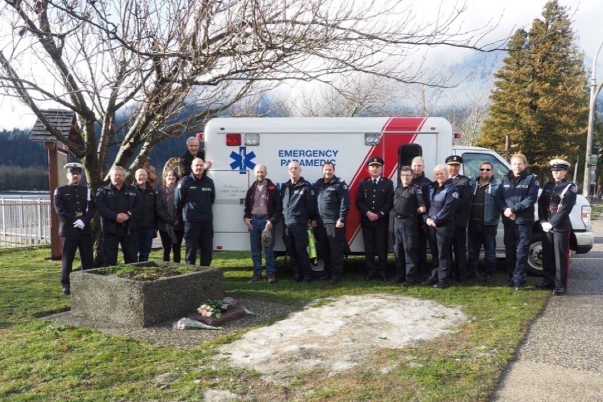Friends, colleagues and B.C. Ambulance Service members pay tribute to a fallen friend and colleague twenty five years to the day of her death, Jan. 26. Wanda Kennedy photo