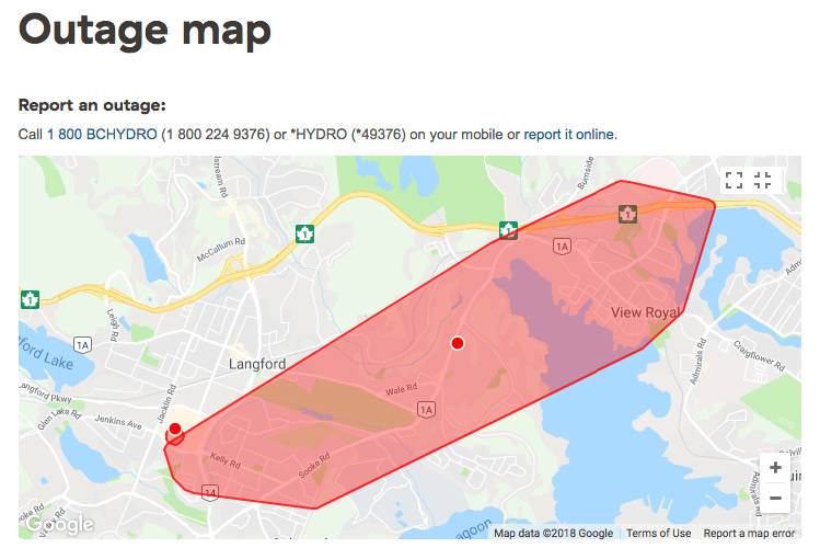 Power Outage Hits Roughly 10 000 Customers On The West Shore Victoria News