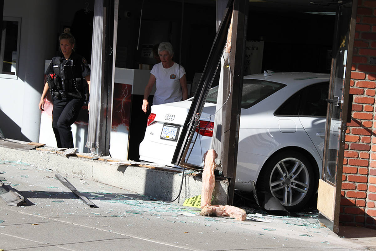 afternoon collision launches vehicle through downtown victoria