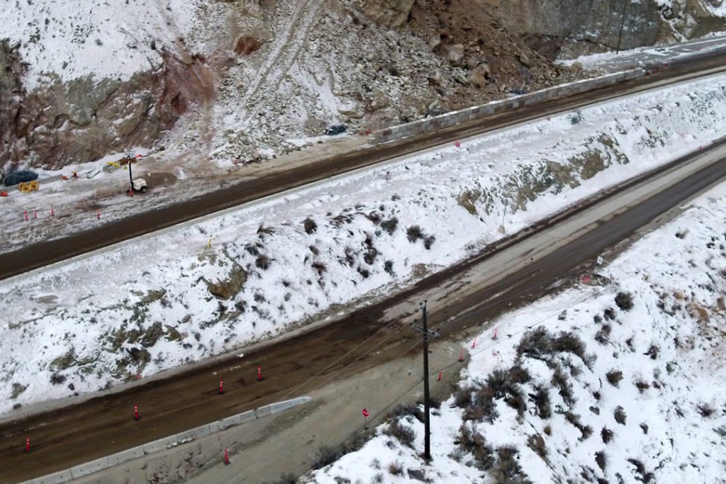 Aerial view shows the extent of Hwy. 97 slide damage through Okanagan