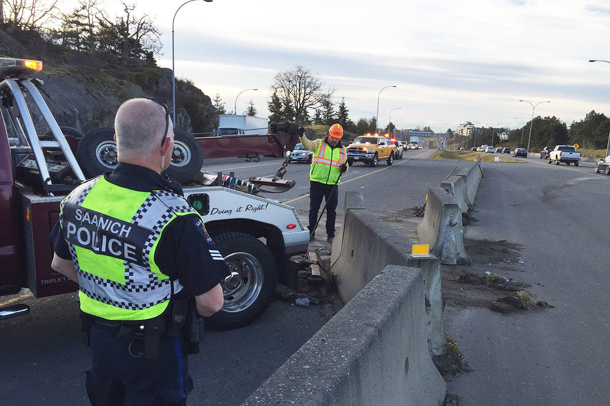 Pat Bay Highway crash snarls morning commute at McKenzie Avenue in