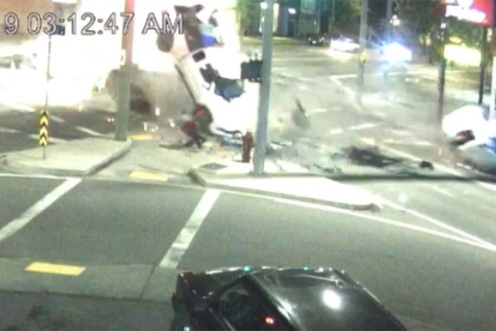 VIDEO: High-speed crash at Douglas and Bay Streets caught on