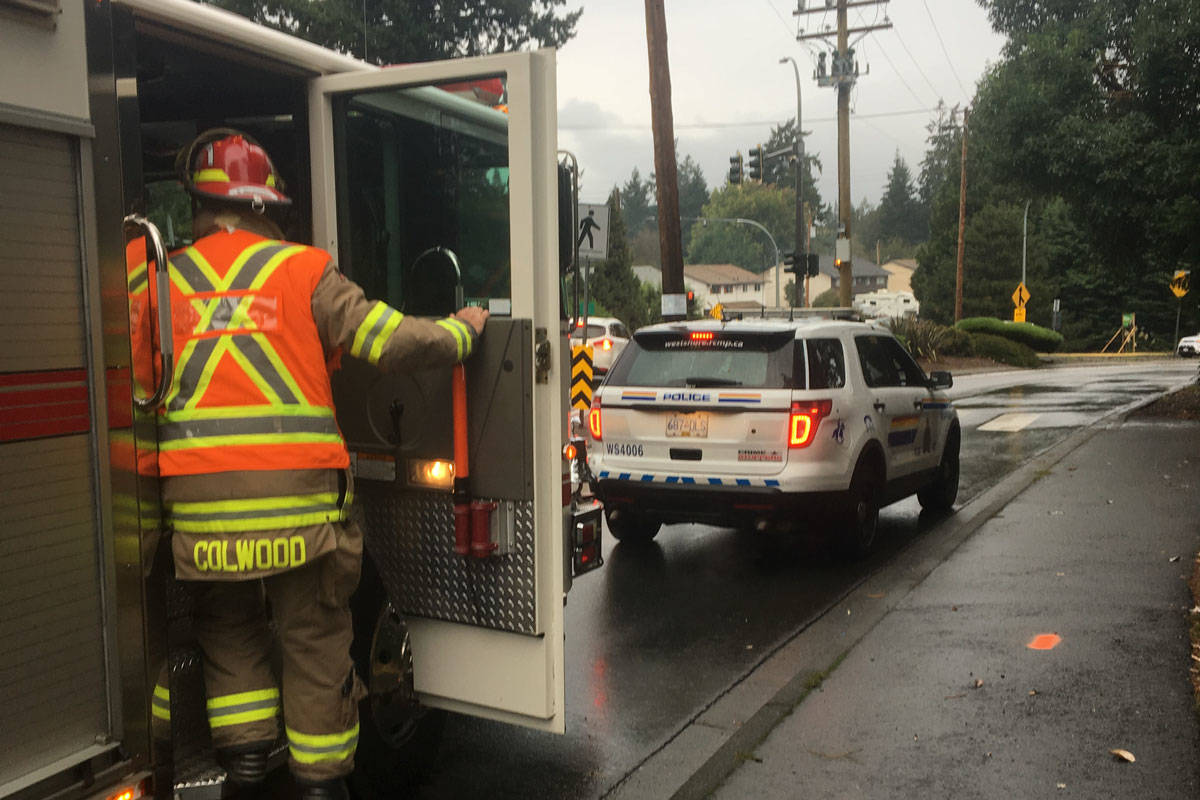 Traffic slowed after reports of a pedestrian struck in Colwood