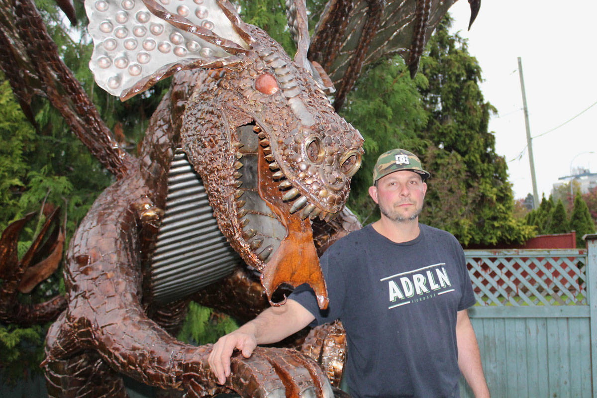 Ginormous 10-foot dragon towers over Saanich yard