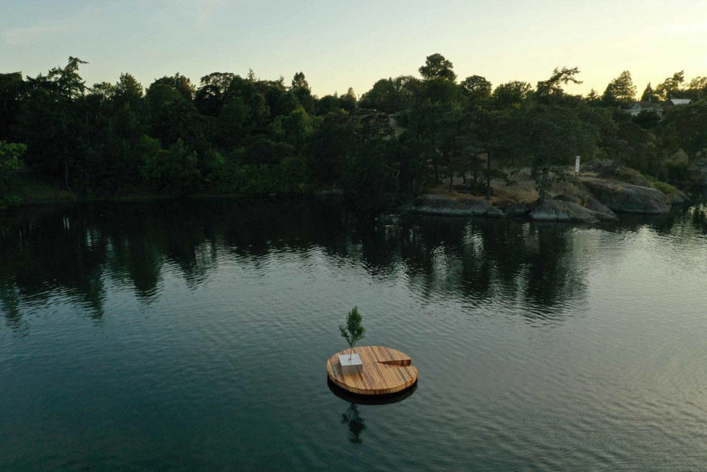 Floating dock installed secretly in Gorge entices swimmers with free beer, chance to win gift cards