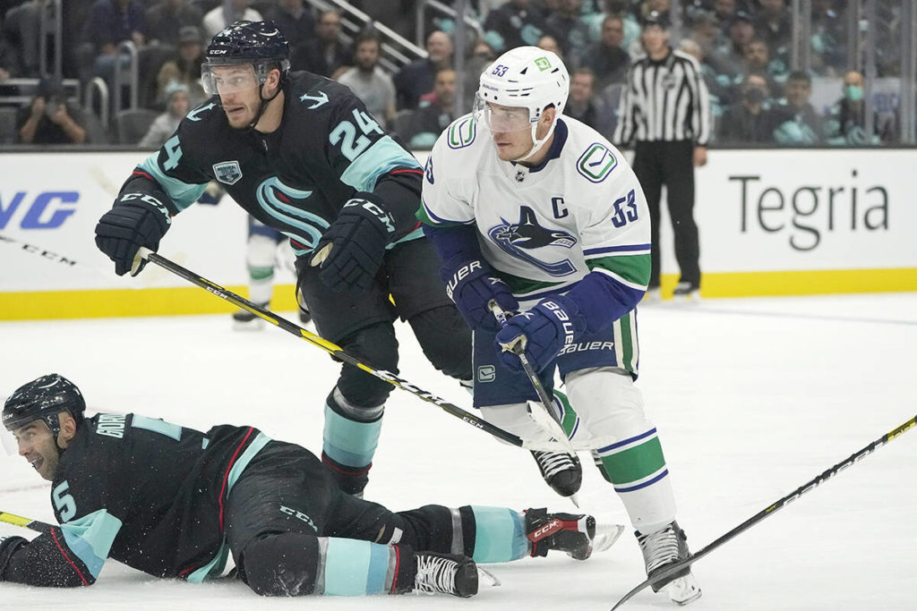 Horvat nets 2 as Vancouver Canucks spoil Kraken's home opener with 4-2 win in Seattle – Victoria News